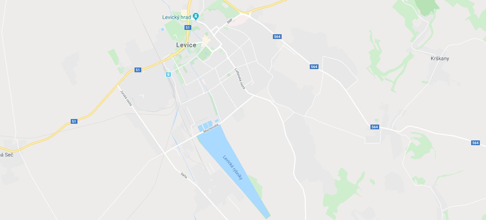 Levické rybníky na mape